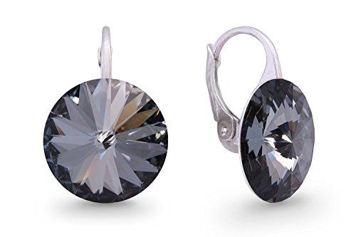 Ana Morales Boucles d'oreilles pour femme En argent Sterling 925 Avec cristaux Swarovski gris foncé