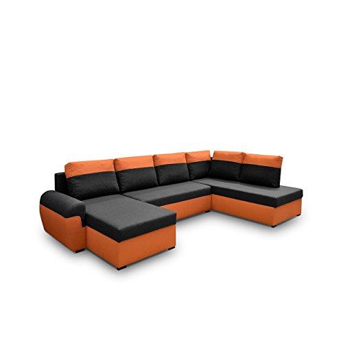 Mirjan24  Elegante Ecksofa Mori XL, Eckcouch mit Schlaffunktion und Zwei Bettkasten, Großes Polsterecke U-Form Couch, Ecksofa, Wohnlandschaft (Ecksofa Rechts, Sawana 14 + Sawana 18)