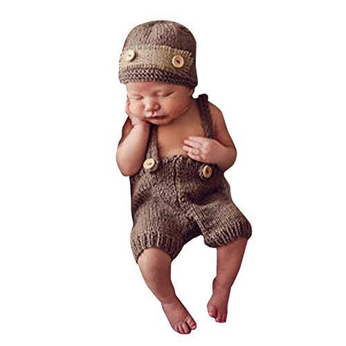 Schnee Baby Kostüm - H.eternal Neugeborene Junge mädchen Gestrickt Short Dungaree Häkel Beanie Hüte Handarbeit Bekleidungsset Fotografie Requisiten Kostüm Geburtstag Outfit (Khaki)