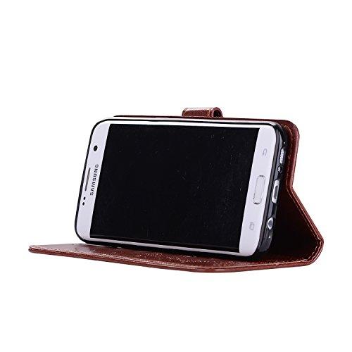 Custodia Galaxy S7 Edge, ISAKEN Cover per Samsung Galaxy S7 Edge, Galaxy S7 Edge Flip Cover con Strap, Elegante 2 in 1 Custodia in Sintetica Ecopelle Sbalzato PU Pelle Protettiva Portafoglio Case Cove Ragazza: marrone