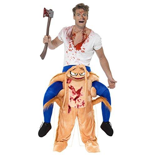 Oramics Halloween außergewöhnliches Horror Kostüm Kakerlake Huckepack, Trag Mich Piggyback mit Beinen inklusive Kunstblut-Spray und Deko-Axt, originelle Insekten Kostümidee (Huckepack Halloween Kostüm)