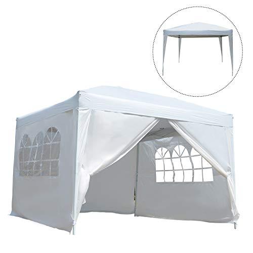 Outsunny Tonnelle Barnum Tente de réception Pliante 3 x 3 x 2,55 m Blanc avec fenêtres + Sac de Transport