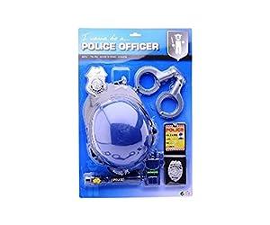 DEPICE T-DT-JH26758 - Conjunto de policía, esposas insignia casco placa de policía ajuste