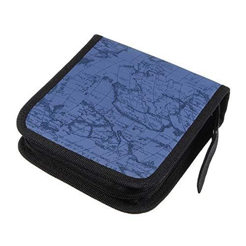 Deanyi CD Boxen Tasche Aufbewahrungstasche Welt Weltkarte CD DVD Halter 40 Disc DJ Speicher Organisator Mappen Kasten Tasche Album Blau Haushaltsgegenstände (Dvd-kassetten-halter)