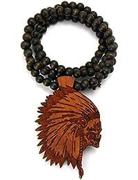 Collier en bois de ton brun à pendentif de tête de mort chef amérindien, L.91,4 cm WX24BRN