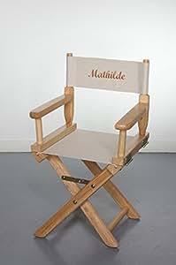 """VÉRITABLE Fauteuil """"Metteur en Scène"""" Enfant 63 x 30 x 37 cm Hévéa Massif Broderie Personnalisée"""