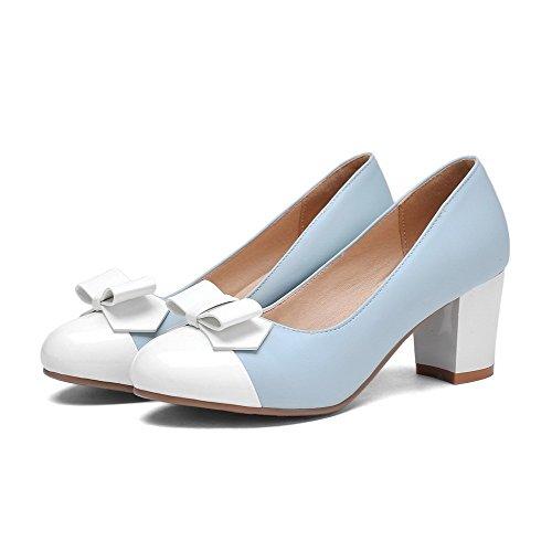 AllhqFashion Damen Ziehen Auf Mittler Absatz Pu Gemischte Farbe Rund Zehe Pumps Schuhe Blau