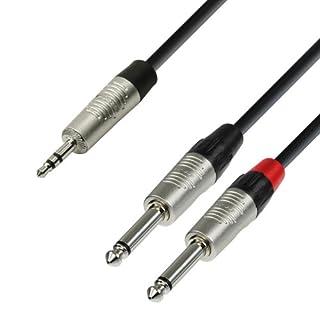 Adam Hall 4 Star Series Rean Instrumentenkabel (2 x 3,5 mm Klinkenstecker auf 2 x 6,3 mm Mono-Klinke) 1.5m