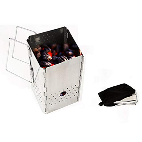 Shopps Outdoor Campingkocher, Leichter Edelstahl tragbarer Faltbarer Holzkocher, geeignet für Rucksacktouren, Camping, Angeln und Kochen im Freien -