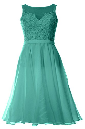 MACloth Women Bateau Lace Short Homecoming Cocktail Dress Evening Party Gown Turquoise