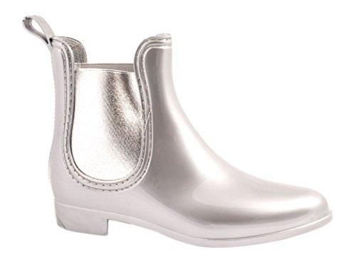 Elara Damen Gummistiefel | Bequeme Lack Stiefeletten | Chelsea Boots Silber
