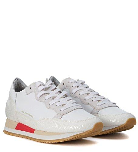 Sneaker Philippe Model bright in pelle gommata perlata bianca Bianco