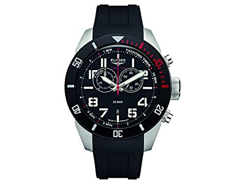ELYSEE MEN'S YACHTING TIMER 45MM SILICONE BAND STEEL CASE QUARTZ WATCH 94000