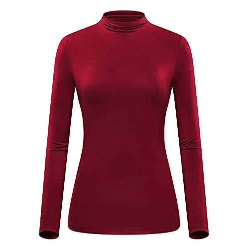 Dorical Rollkragenpullover Damen Herbst Winter Warm Slim Fit Tops Lang Volltonfarbe Hemd Sweatshirt für Frau Hochwertige Sweater Trend Pullover Günstige Kaufen Online Shop Promo