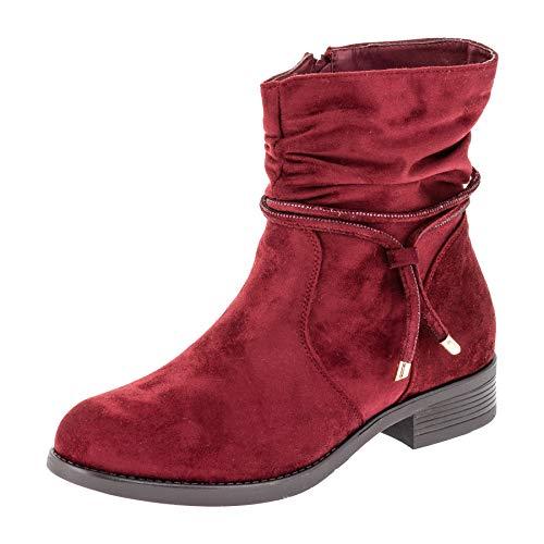 Bo aime Damen Stiefeletten Klassische Winter Schuhe in Wildlederoptik in Übergrößen M465rt Rot 44 EU