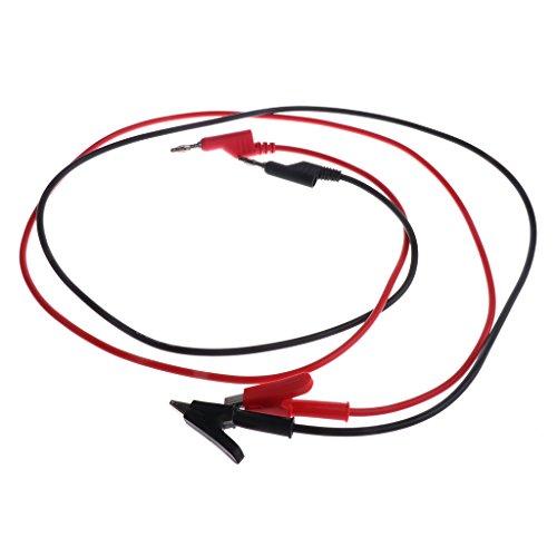Sharplace 107 cm Labor Kabel 4mm Bananenstecker zu Krokodilklemme Messleitung 15A für Labor,Physikunterricht,Elektrische Test,Wissenschaftler - Rot+Schwarz(2 Pcs)
