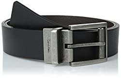 Calvin Klein Mens Reversible Harness Roller Buckle Belt, Black/Brown, 38