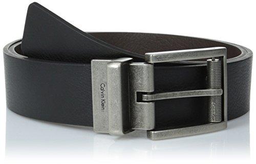 Calvin Klein Men's Reversible Harness Roller Buckle Belt, Black/Brown, 30 US