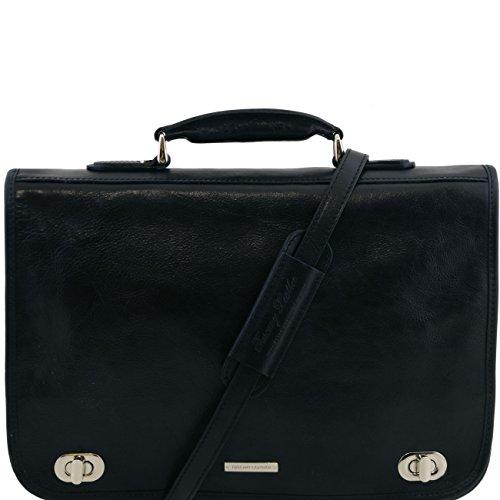 Tuscany Leather Certaldo - Messenger Tasche aus Leder 2 Fächer Dunkelbraun Lederaktentaschen Schwarz