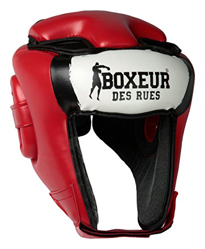BOXEUR DES RUES BXT-HG05 Casco Boxeo competición con Logo, Adultos Unisex, Rojo, S-M