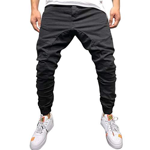 PANPANY Uomo Casual Sportwear Pantaloni Larghi da Jogger Lunghi alla Caviglia Pantaloni della Multi Pocket Sportiva Uomo Sportivi Marea per Il Tempo