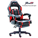 JR Knight LC-04BKRD Ergonomic Gaming Chair With Footrest, Professional Gamer Design Home Office