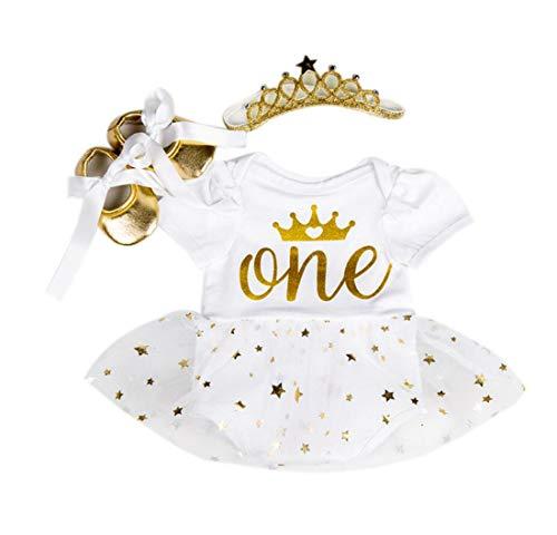 Marlegard® Baby Mädchen Tutu Kleid zum 1. Geburtstag mit Stirnband Schuhe, 3-teilig Gr. 9 Monate(6-9 Monate), weiß