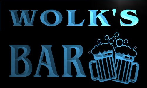Wolk the best amazon price in savemoney cartel luminoso w011641 b wolk name home bar pub beer mugs cheers neon light sign fandeluxe