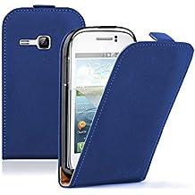 Azul Funda de Cuero para Samsung Galaxy Young (GT-S6310 / S6312 Duos / Dual / S6310L / S6310N) - Flip Case Cover Con Tapa + 2 Protector de