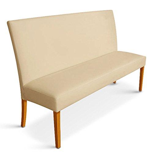 SAM® Esszimmer Sitzbank Bank Roma 160 cm in creme mit buche farbigen Beinen Pinienholz bequeme Polsterung pflegeleicht teilzerlegt Auslieferung durch Spedition