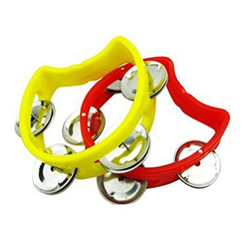 Tamburin für Kinder mit 4 Glocken, Kunststoff, Cutaway, Halbblühung, zufällige Farbe, 2 Stück (Belle 2 Stück Kostüm)