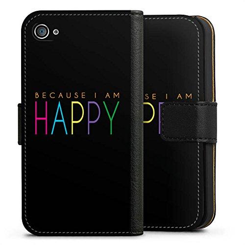 Apple iPhone X Silikon Hülle Case Schutzhülle Because I Am Happy Sprüche Statement Sideflip Tasche schwarz