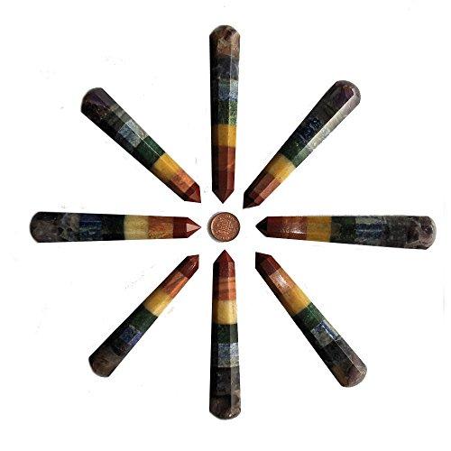 Sieben Chakra Edelstein Massagestab für Kristall-Heilung und reflexzonenmassage, 90-100mm (Heilung, Chakra-kristalle)