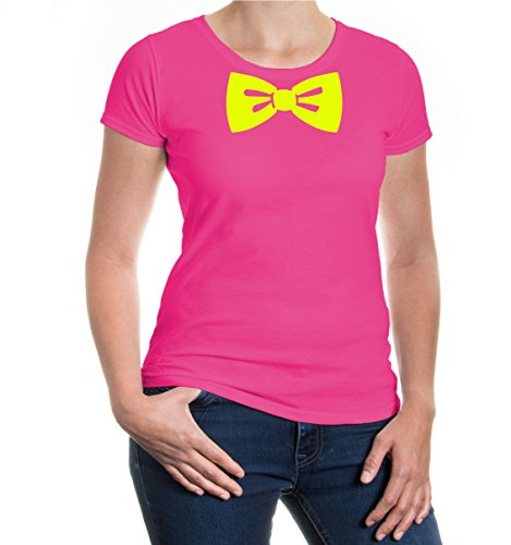 buXsbaum® Girlie T-Shirt Clownsfliege Fuchsia-Neonyellow