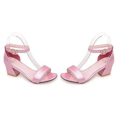 ZHZNVX Neue Starke Ferse Sandalen Korean Open Toe Wort Gürtel Dekorative Schnalle Frauen Sandalen mit Pumps Rosa, 42