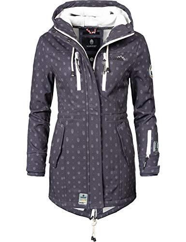 Marikoo Mountain Damen Softshell-Jacke Outdoorjacke Zimtzicke Anthrazit Dots Gr. M