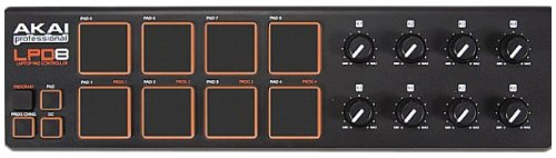 AKAI Professional LPD8 Portable 8 Pad USB MIDI Pad Controller for Laptops (Mac and PC) - Black