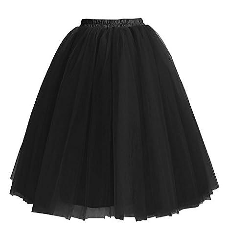 Facent Damen 5 SchichtenTüllrock Tütü Unterröcke Knielang Tüll Kleid Rock