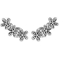 chicbuy primavera deslumbrantes margaritas flores stud pendientes para mujer Plata de Ley 925auténtica Fashion joyas