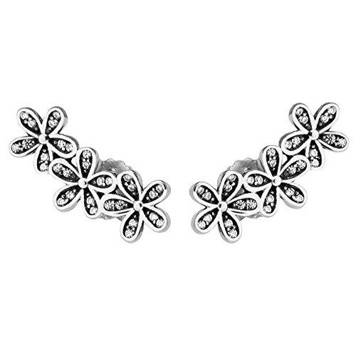 Cooltaste spring daisiesclear meravigliosi fiori cz orecchini in argento sterling 925diy adatto per originale pandora gioielli moda donna