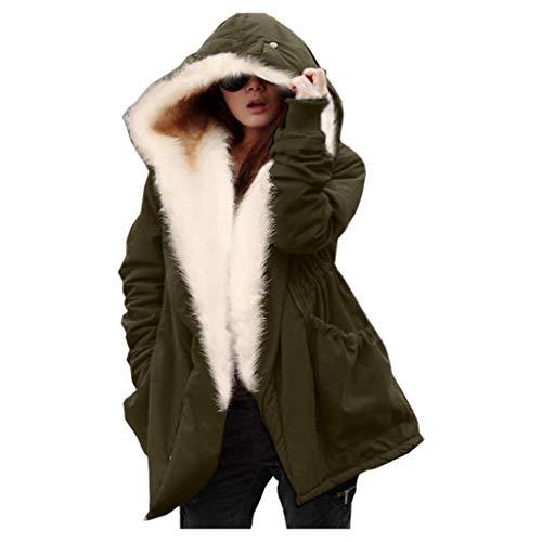 ➤Refill➤ Damen Winter Jacke warme Winterjacke Parka Mantel Teddyfell Plüsch Kapuzenjack Parka Winterjacke Echtfell Kapuze Warm Gefüttert