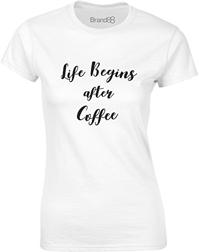 Brand88 - Life Begins After Coffee, Mesdames T-shirt imprimé Blanc/Noir
