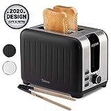 Toaster mit Breitem Schlitz 3 in 1 - Schwarz Matt Edelstahl, Retro-Toaster - Gratis Bambus-Zange - 7 Bräunungsstufen - 850W - Brötchenaufsatz und Krümelschublade