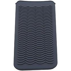 MOONRING Tapis de protection thermique en silicone résistant pour fers à lisser, Gris