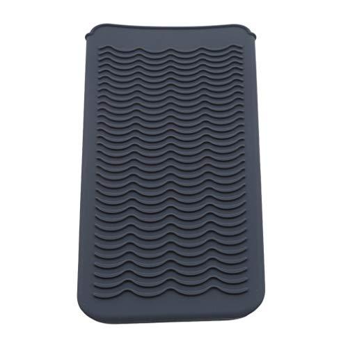 kemai Hitzebeständige Flache Matte Silikon Reisetasche für Lockenstäbe Hot Hair Tools Schutzmatte Pad, grau (Glätteisen Hitze-matte Für)
