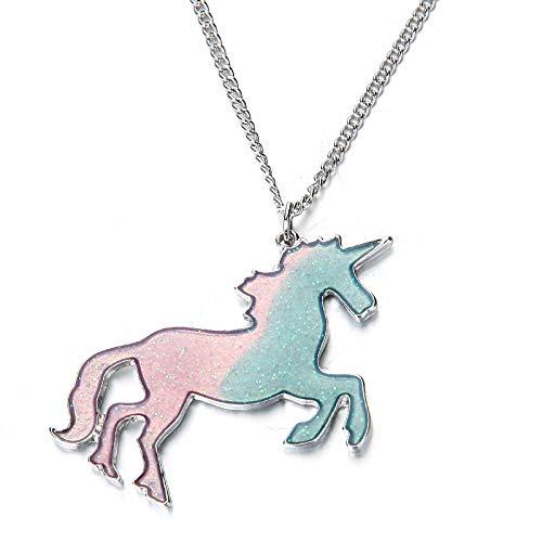 ONNEA Collar Unicornio Colgante para Niña Color del Arco Iris Regalos de Cumpleanos (Rosa, Aleación de Zinc)