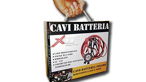 XONE CAVI BATTERIA CAVO PROFESSIONALE PER AUTO E MOTO 500 AMP FACILE DA USARE OMOLOGATO 12 - 24V COSTRUITO PER ALTE/BASSE TEMPERATURE 500AMP. DIMENSIONI: 3.60M X 20MM