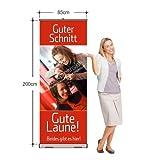 Rollup-Banner für Friseur / Coiffeur (85 x 200 cm) Bannerdisplay Werbebanner