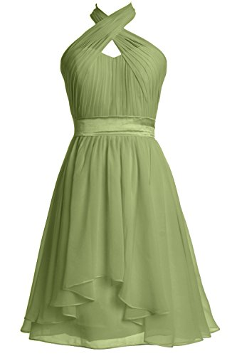 MACloth Women Halter Short Bridesmaid Dress Chiffon Cocktail Party Formal Gown clover