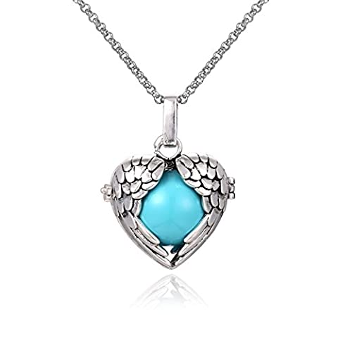 Wing Heart Mexican Bola Harmony Chime Ball Angel Caller Pregnancy Locket Pendant Necklace Women Baby Gifts Presents 30